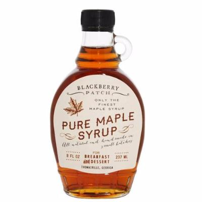 8oz glass jar of Blackberry Patch Pure Maple Syrup with pour handle