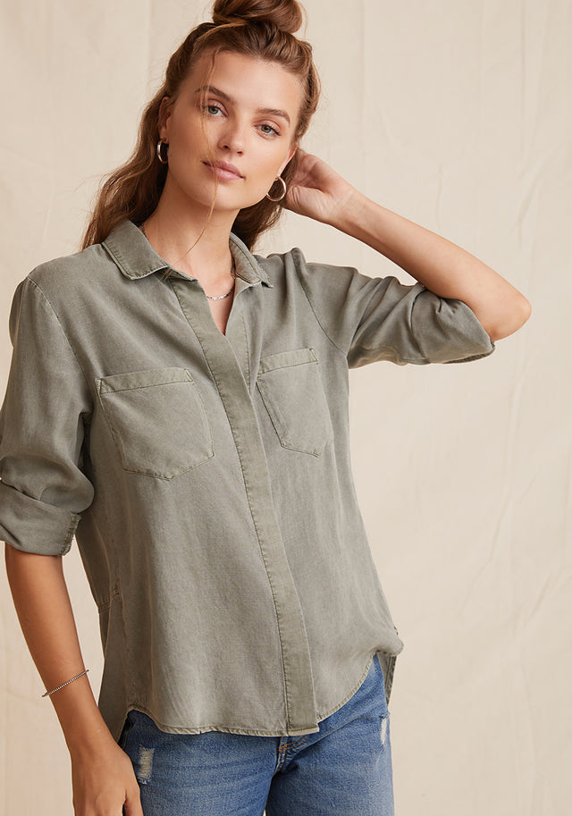 Front View: Womens Olive Green Long Sleeve Button Down Shirt With Chest Pockets and Roll Tab Buttoned Sleeves