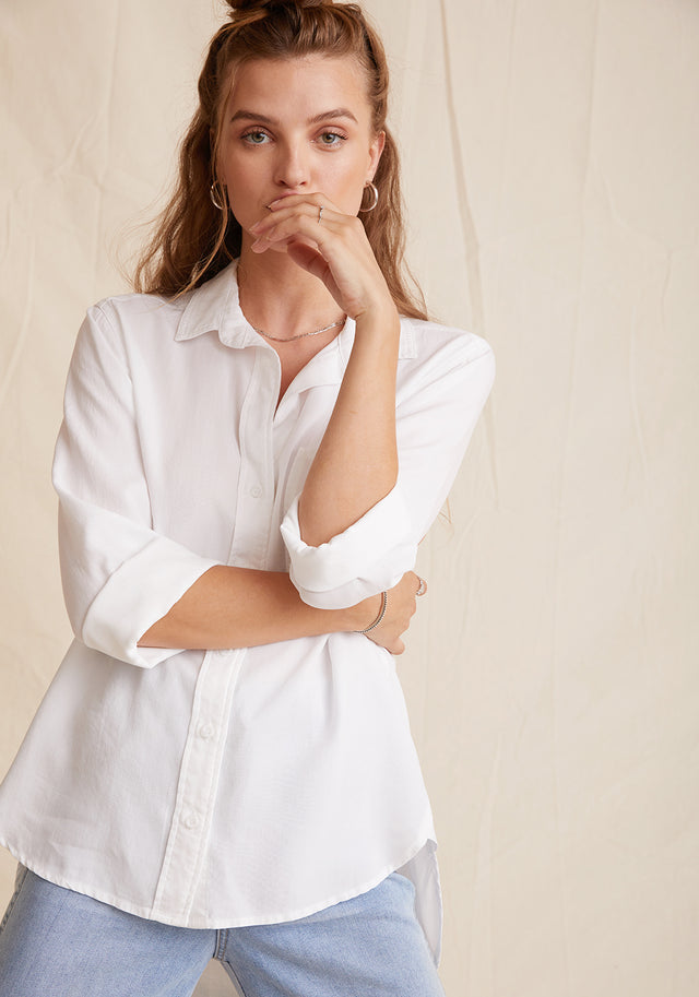Front View: Womens White Long Sleeve Button Down Shirt With Rolled Sleeves and Chest Pocket
