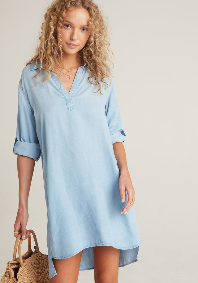 Front View: Womens Light Denim Wash Long Sleeve Shirt Dress With Roll Tab Sleeves