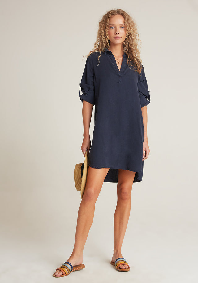 Full View: Womens Navy Blue Long Sleeve Shirt Dress With Roll Tab Sleeves