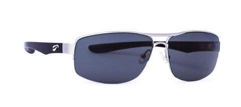 ComfortStyle - Titanium Hawk WF Aviator - Silver Frame/Glossy Black Temples (Solid Gray Tint)