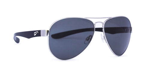 ComfortStyle - Cooper Titanium Aviator - Silver Frame/Glossy Black Temples (Solid Gray Tint)