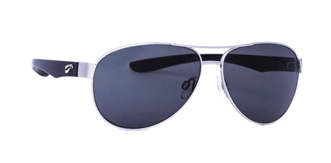 ComfortStyle - Kestrel Titanium Aviator - Silver Frame/Glossy Black Temples (Solid Gray Tint)