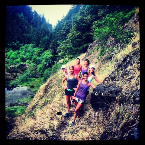Runners above the Rogue River Oregon