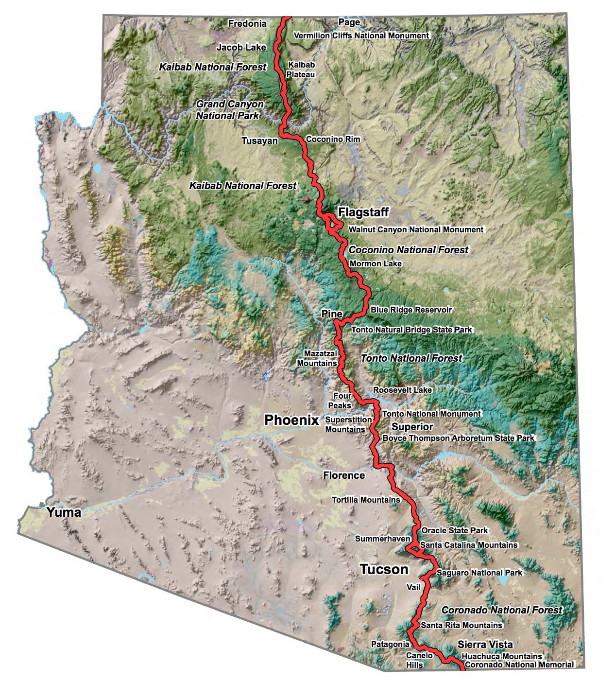 Arizona State Trail Map