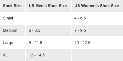 Brooks Size Chart Socks