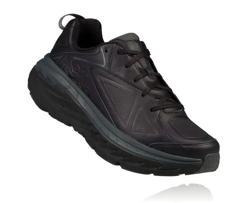 Hoka Women's Bondi Black Leather Walking Shoe Wide D