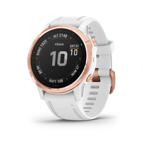 Garmin Fenix 6S Rose Gold w/White Band GPS Adventure Running Outdoor Watch