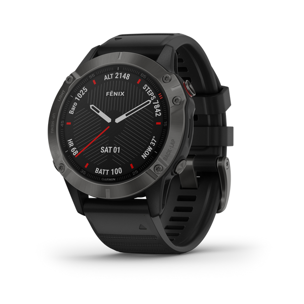 Garmin Fenix 6 Sapphire Grey w/ Black Band Outdoor Adventure Running GPS Watch