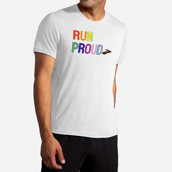 Brooks Men's Distance Graphic Short Sleeve Run Proud LGBTQ Pride Running T-shirt