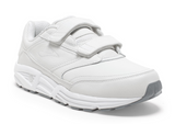 Brooks Men's Addiction Walker White Leather Walking Shoe with Velcro Strap Closure