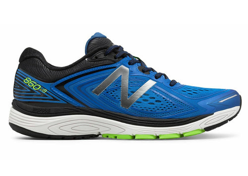 New Balance Men's 860v8 extra wide stability road running shoe in blue, black, and bright green