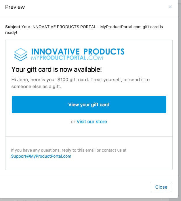 IPP Gift Card Confirmation Email