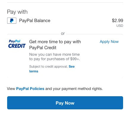 Pay Pal Credit Notification