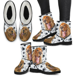 Cocker Spaniel Print Faux Fur Boots For Women-Free Shipping