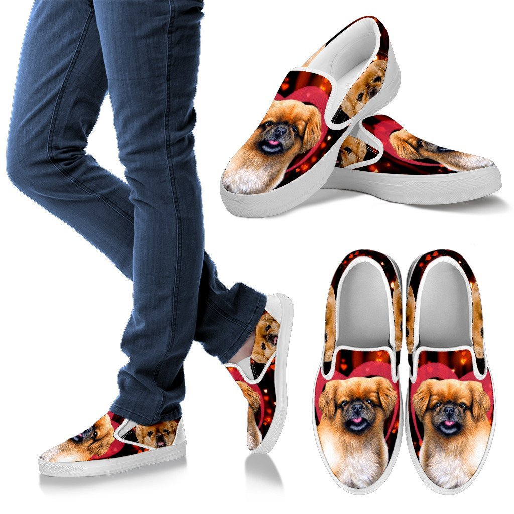 579fcded047 Valentine's Day Special-Pekingese Dog Print Slip Ons Shoes For Women-Free  Shipping