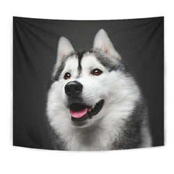 Siberian Husky On Black Print Tapestry-Free Shipping
