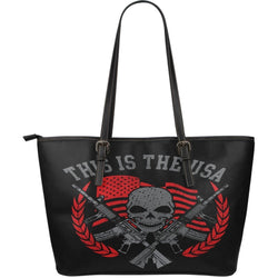 This Is The USA-Large Leather Tote Bag-Free Shipping