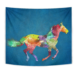 Mustang Horse Painted Print Tapestry-Free Shipping