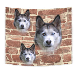 Siberian Husky On Wall Print Tapestry-Free Shipping