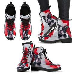 Valentine's Day Special Boston Terrier On Red Print Boots For Women-Free Shipping