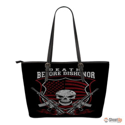 Death Before Dishonor-Small Leather Tote Bag-Free Shipping