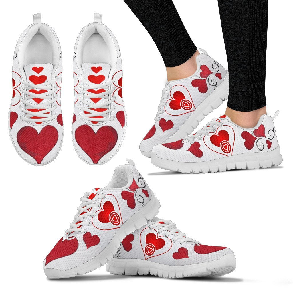 Valentineu0027s Day Special Heart Print Running Shoes For Women Free Shipping