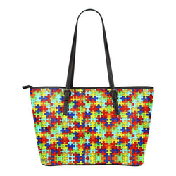 Autism Symbol Small Leather Tote Bag - Free Shipping