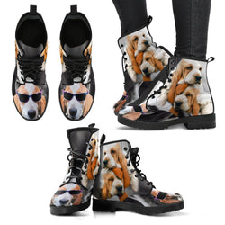 Basset Hound With Glasses Print Boots For Women- Free Shipping