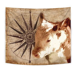 Amazing Hereford Cattle Print Tapestry-Free Shipping