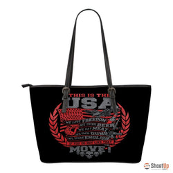 This Is The USA We Love Freedom-Small Leather Tote Bag-Free Shipping