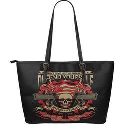 My Gun-My Right-Large Leather Tote Bag-Free Shipping