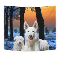 Lovely White Shepherd Dog Print Tapestry-Free Shipping