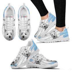West Highland White Terrier (Westie) Blue White Print Sneakers For Women-Free Shipping