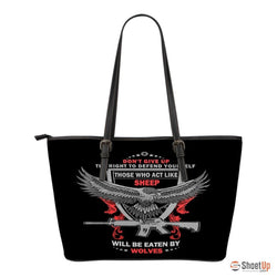 The Right To Defend Yourself- Small Leather Tote Bag- Free Shipping