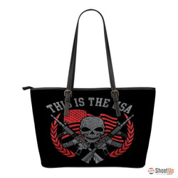This Is The USA-Small Leather Tote Bag-Free Shipping