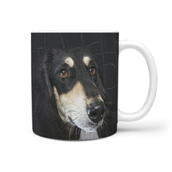Black Saluki Dog Print 360 White Mug