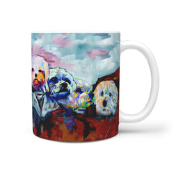 Maltese Dog Art Mount Rushmore Print 360 Mug