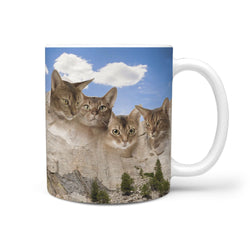 Abyssinian Cat Mount Rushmore Print 360 White Mug