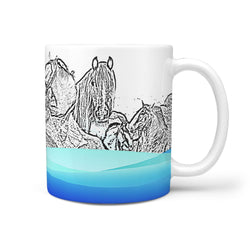 Clydesdale Horse Mount Rushmore Print 360 White Mug