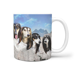 Black Saluki Dog On Mount Rushmore Print 360 Mug