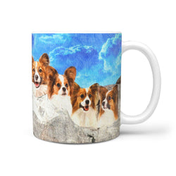 Papillon Dog Art On Mount Rushmore Print 360 Mug