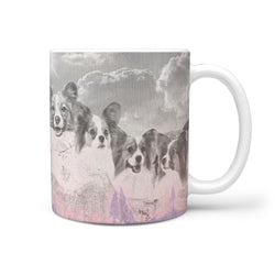 Papillon Dog Sketch On Mount Rushmore Print 360 Mug