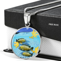 Afra Cichlid Fish Print Luxury Circle Charm Necklace -Free Shipping