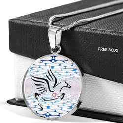 Amazing Percheron Horse Print Circle Pendant Luxury Necklace-Free Shipping