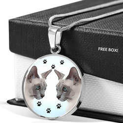 Tonkinese Cat Print Circle Pendant Luxury Necklace-Free Shipping