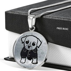 Cute Dog Art Print Circle Pendant Luxury Necklace-Free Shipping