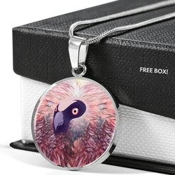 Bearded Vulture Bird Art Print Circle Pendant Luxury Necklace-Free Shipping