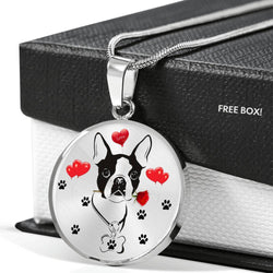 Cute Boston Terrier Print Circle Pendant Luxury Necklace-Free Shipping